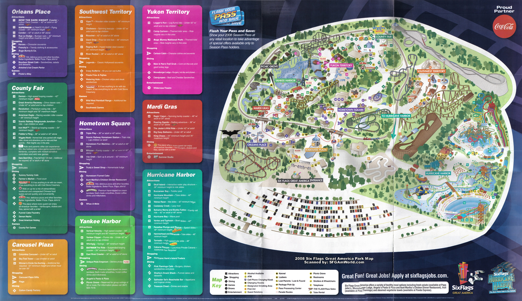 SFGAmWorld.com - Park Maps on six flags nj map, magic springs and crystal falls map, dorney park map, washington street mall map, kingda ka map, mt. olympus water & theme park map, kiddieland map, kennywood map, holiday world santa claus indiana map, the gallery at market east map, penn hills resort map, knott's berry farm map, magic kingdom map, 2014 six flags magic mountain map, great america map, cedar point map, thorpe park map, wyandot lake map, big e fair map, 2014 six flags over georgia map,